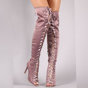 🧩Last pairs 🧩Boots over the knee Lace Up Satin pink color for Sale in Ontario, CA