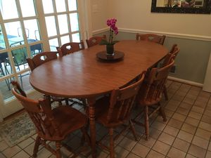 Two-leaf Large Kitchen Table and Eight (8) Chairs for Sale in Alexandria, VA