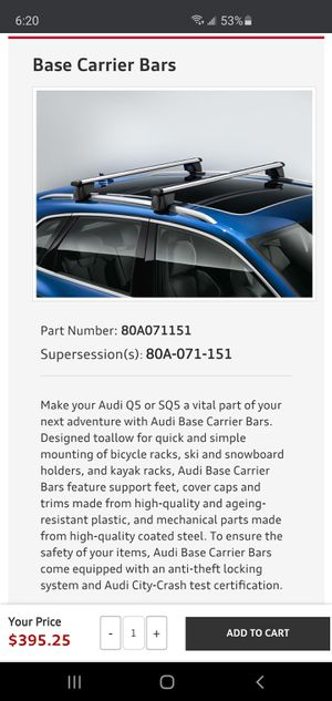 BRAND NEW OEM Audi Q5 or SQ5 (2018-2020) - Base Carrier Bars for Sale in Downey, CA