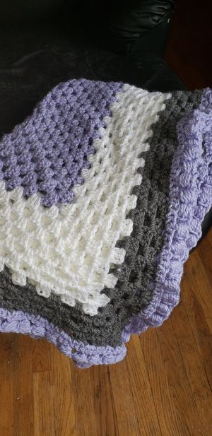 Hand crocheted purple, creme and grey lap throw for Sale in Benton, KY