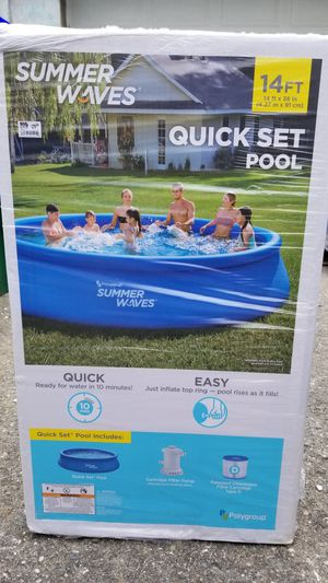 New Summer waves quick set 14ft inflatable above ground pool for Sale in Medford, MA