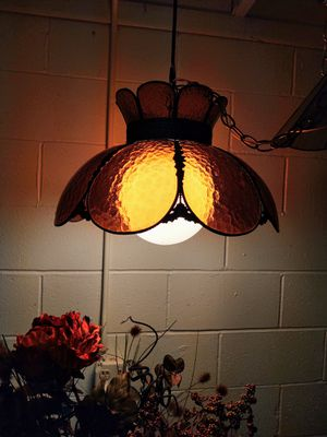 Antique Amber Slag Glass Hanging Lamp for Sale in Pleasant Hill, IA