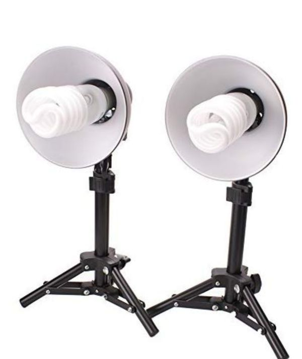 "Studio Photo & Video Lights with 15"" Lightstands come with additional 65 Watt Fluorescent Photo Light Bulb"