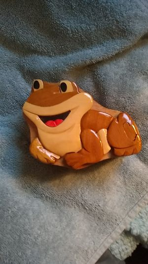 Hand carved frog puzzle hideaway trinket boxes for Sale in Hermon, ME