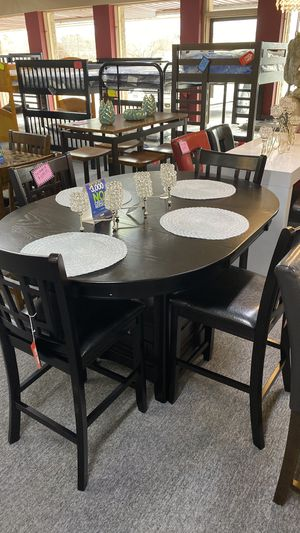 Cappuccino Dining table Set with Leaf Extension 4 Chairs and Storage underneath G 6I for Sale in Euless, TX