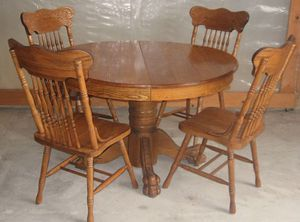 Vintage Raw oak wooden claw dining table set (4) (MOVING SALE) for Sale in Lakewood, CA