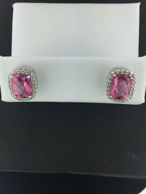 White Gold 14kt Earrings with Diamonds and Morganite Gemstone for Sale in South San Francisco, CA