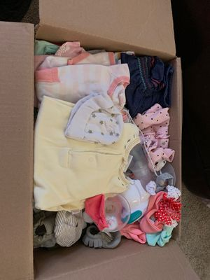 Box full of infant girls clothing for Sale in Peoria, AZ