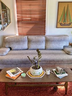 Mid Century Modern Living Spaces Grey/White 3-Seater Couch for Sale in Phoenix,  AZ