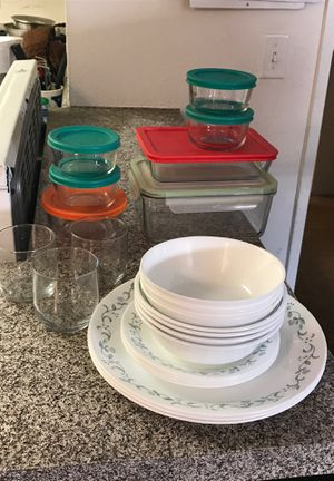 Correlle plate,bowl,small plates, Pyrex glass containers, juice mugs for Sale in Placentia, CA