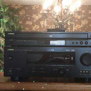 Oak Stereo Cabinet With Glass Doors and Stereo System for Sale in Portland, OR