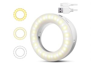 Selfie Ring Light, SYOSIN Rechargeable Portable Clip-on Ring Light for Phone Laptop and Camera, with Adjustable 3 Light Modes and 40 LED for Sale in Rancho Cucamonga, CA