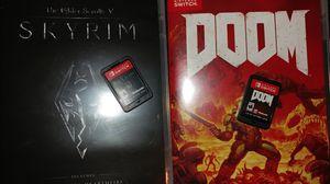 Skyrim + Doom Nintendo Switch (OBO) for Sale in La Habra Heights, CA
