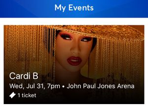 Cardi B Ticket For Charlottesville Concert for Sale in Midlothian, VA