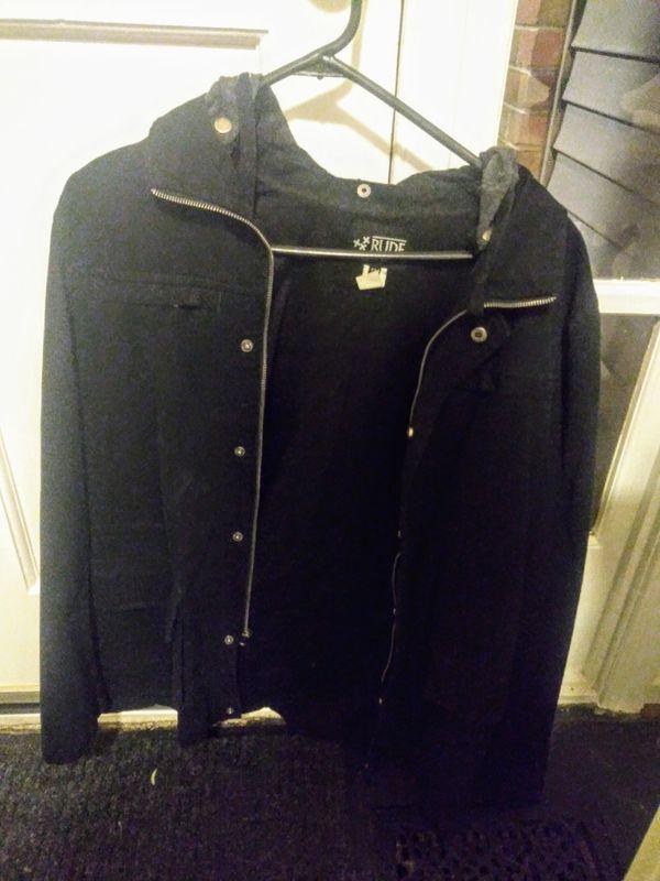 RUDE Hot Topic men small jacket hoodie black
