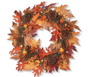 Fall wreath / Thanksgiving wreath with lights for Sale in Ashburn, VA