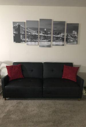 Black faux leather futon for Sale in Elizabeth, NJ