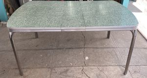 1950's Sage Green and White Formica Kitchen or Dining Rectangle Table with Removable Leaf for Sale in Los Angeles, CA