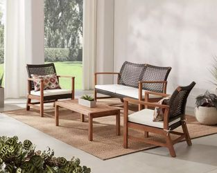 New in box Hampton Bay Clover Cay Acacia Frame wicker cushion-off white patio set (retail $500) for Sale in West Valley City,  UT
