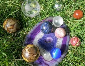 Amythest slice and natural mineral spheres for Sale in Tucson, AZ
