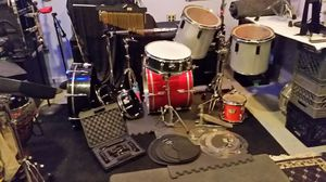 Drums, Crash Pad, Gibraltar Rack System, chimes, Nady Drum Mics,two snares, 6 toms, set of drum silencers, plastic rings and more for Sale in Royal Oak, MI