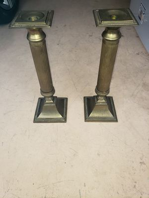 Pair of brass candle holders for Sale in Boynton Beach, FL