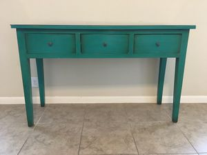 Gorgeous Teal Console Table with Drawers and Glass Top for Sale in San Marcos, TX