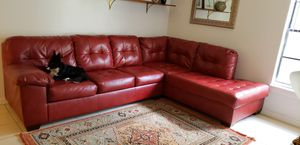 Red leather sectional couch for Sale in Tampa, FL