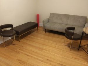 Futon, table, leather chairs and leather bench for Sale in Chicago, IL