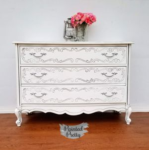 Elegant and Classic White French provincial dresser with 3 large drawers for Sale in Williamsport, PA