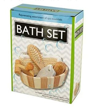 Essential Bath Set In Wooden Basket - Pack of 4: Health & Personal Care for Sale in La Habra Heights, CA