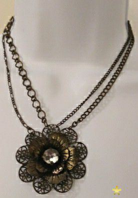 Brass Plated Flower Necklace