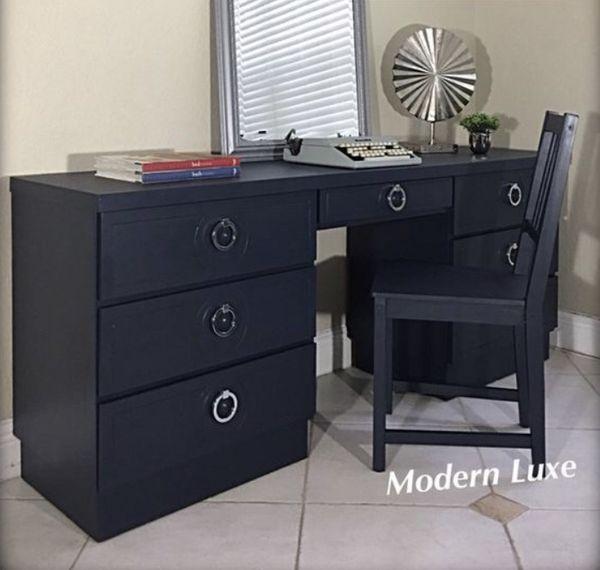 "2PC SOLID WOOD REGAL NAVY & CHROME 70""Long Desk/WorkStation"