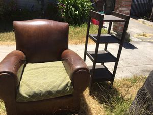 Curb Alert:free leather chair and small shelf for Sale in Oakland, CA