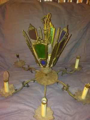 Antique stained glass chandelier brass for Sale in Cleveland, OH