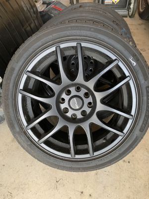 Nice 4 lug tuner racing rims and tires for Sale in Yelm, WA