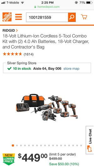 RIGID 18-Volt Lithium-Ion Cordless 5-Tool Combo Kit with (2) 4.0 Ah Batteries, 18-Volt Charger, and Contractor's Bag for Sale in Silver Spring, MD