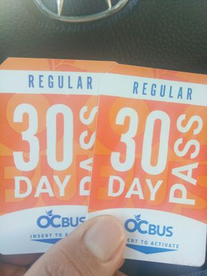2 bus passes adults regular 30 days for Sale in Orange, CA