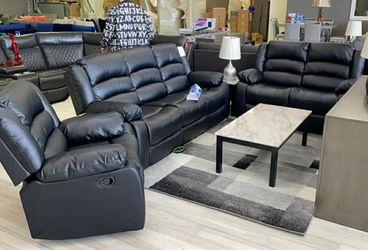 GT Black Reclining Living Room Set | U9600 Sofa & Loveseat for Sale in Laurel,  MD