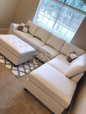 Brand new white sectional and ottoman for Sale in Houston, TX