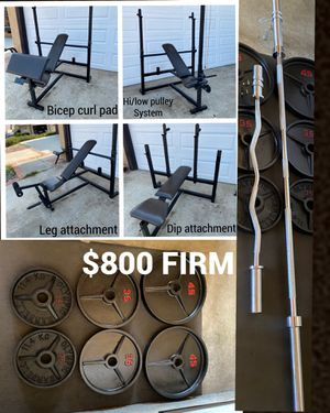 Bar, bench , curl bar , 210 lbs Olympic weights- package deal!!!! for Sale in El Cajon, CA