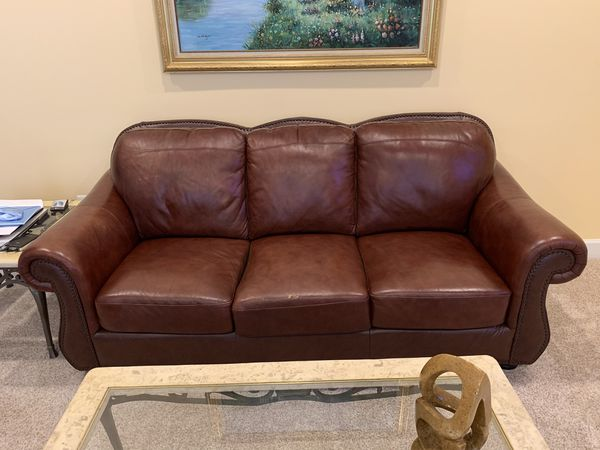 Abbyson Chandler Sofa and Loveseat in Chestnut Brown