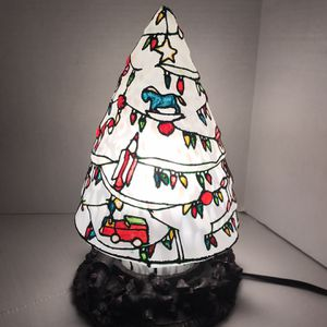 Vintage Frosted Glass Christmas Lamp Depicts Horses Rockets and Trucks on Shade Base has carved bears Trucks doggies etc. Absolutely Stunning 11.5 in for Sale in Riverside, CA