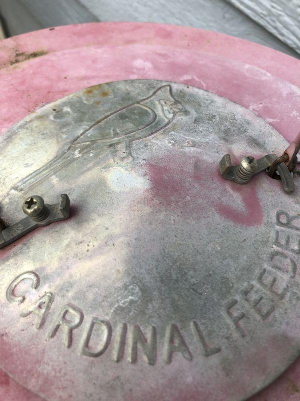 Antique Cardinal bird feeder