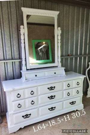 Dresser TV media entryway table refinished white black pulls for Sale in Cedar Hill, TX