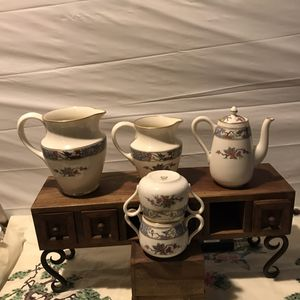 Antique 102 years old 5 LENOX MING WITH BLACK STAMP SET. Include: The elusively so rare jug, The breakfast coffee pot with Lid, the large first made for Sale in Freeport, NY
