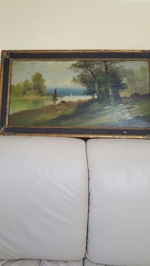 "Antique oil handpainted picture L.32"" W.18 "" by B .Brooks for Sale in Park Ridge, IL"