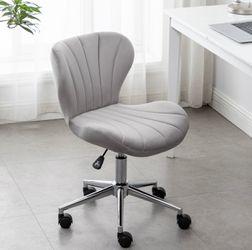 Grey velvet desk chair vanity chair silver office makeup task chair vanity silver chair for Sale in Brea,  CA