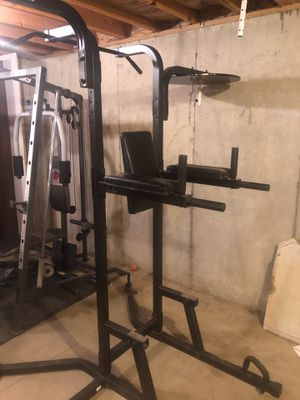 Power tower dips pull-ups push-ups speed bag heavy bag for Sale in Dravosburg, PA