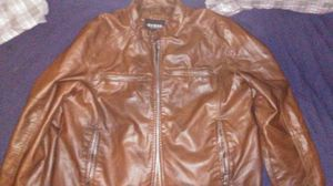 NWT GUESS Men's Brown Vegan Leather Full Zip Front / Pockets Bomber Jacket for Sale in Arlington, TX